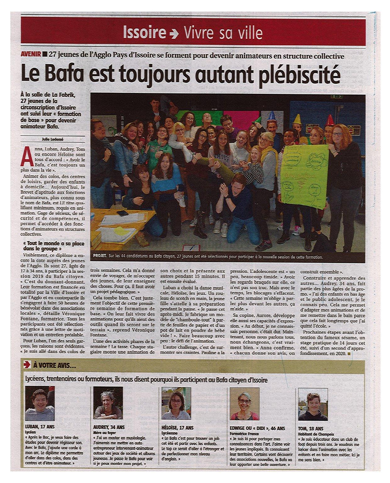 Article BAFA citoyen Issoire financement aide formation puy-de-dome